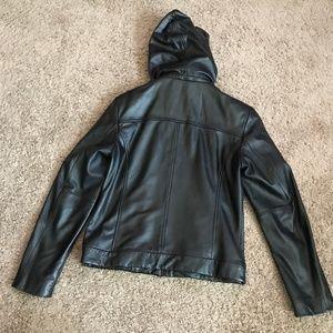 Wilson Women's Black Hooded Leather Jacket
